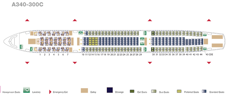 Seatmap_A340_retrofitted